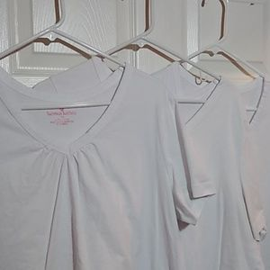 3PK WOMAN WITHIN TUNIC SZ 1X~ LIKE NEW WHITE VNECK